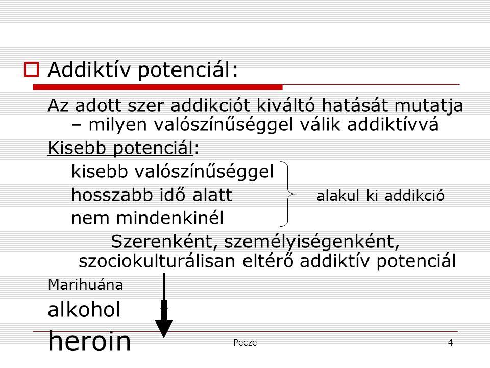 Pecze4  Addiktív potenciál: Az adott szer addikciót kiváltó hatását mutatja – milyen valószínűséggel válik addiktívvá Kisebb potenciál: kisebb valósz