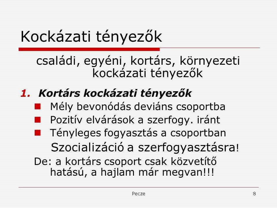 Pecze8 Kockázati tényezők családi, egyéni, kortárs, környezeti kockázati tényezők 1.Kortárs kockázati tényezők Mély bevonódás deviáns csoportba Pozití
