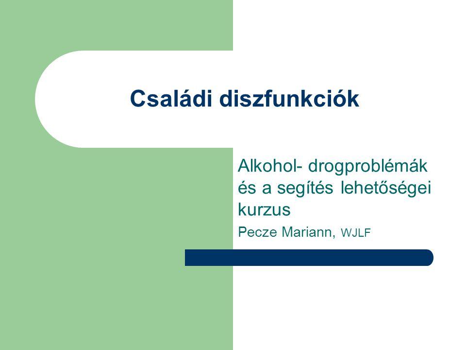 Családi diszfunkciók Alkohol- drogproblémák és a segítés lehetőségei kurzus Pecze Mariann, WJLF