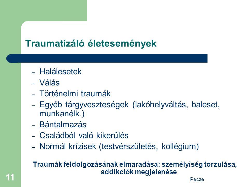 Pecze 11 Traumatizáló életesemények – Halálesetek – Válás – Történelmi traumák – Egyéb tárgyveszteségek (lakóhelyváltás, baleset, munkanélk.) – Bántal