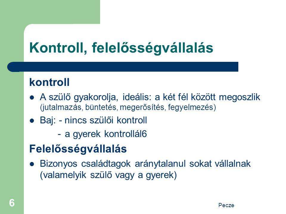 Pecze 6 Kontroll, felelősségvállalás kontroll A szülő gyakorolja, ideális: a két fél között megoszlik (jutalmazás, büntetés, megerősítés, fegyelmezés)