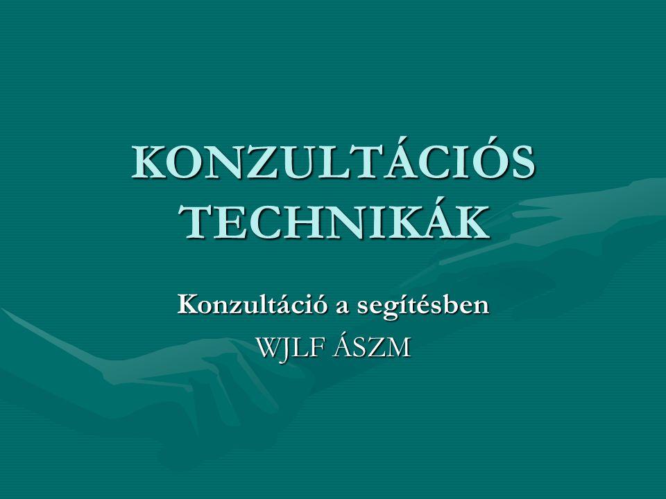KONZULTÁCIÓS TECHNIKÁK Konzultáció a segítésben WJLF ÁSZM