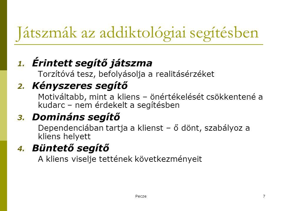 Pecze7 Játszmák az addiktológiai segítésben 1. Érintett segítő játszma Torzítóvá tesz, befolyásolja a realitásérzéket 2. Kényszeres segítő Motiváltabb