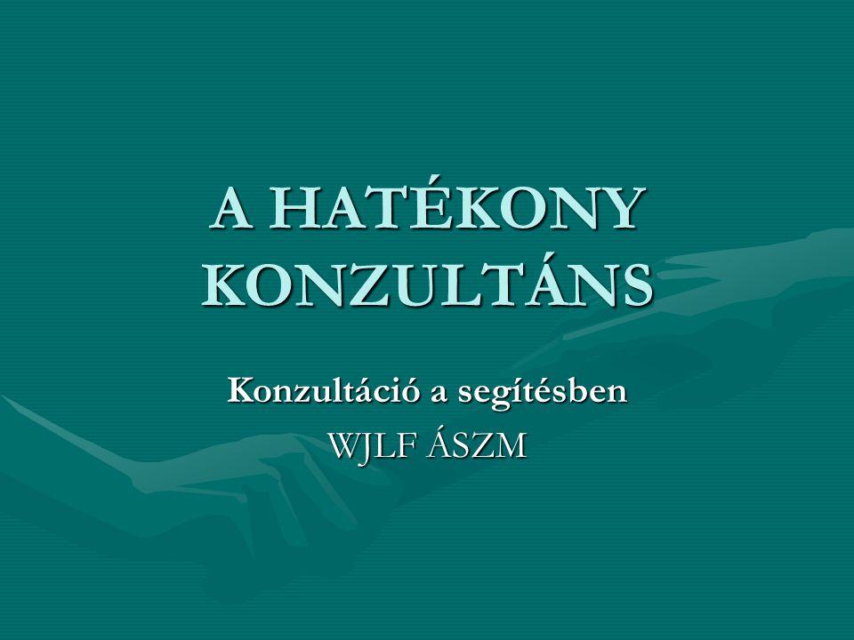 A HATÉKONY KONZULTÁNS Konzultáció a segítésben WJLF ÁSZM