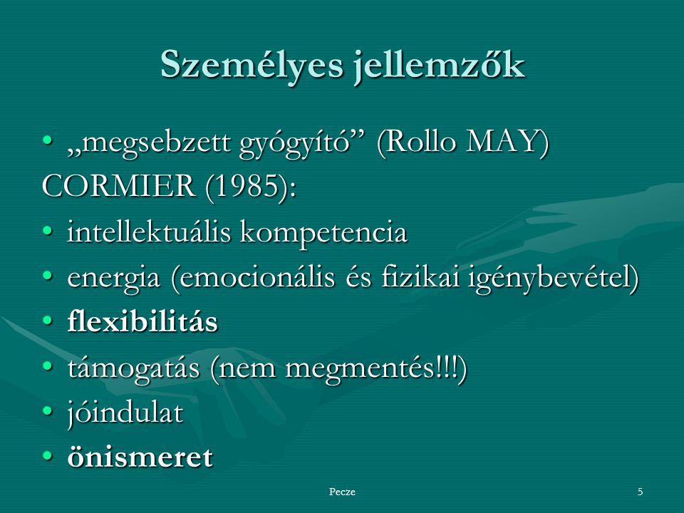 """Pecze5 Személyes jellemzők """"megsebzett gyógyító (Rollo MAY)""""megsebzett gyógyító (Rollo MAY) CORMIER (1985): intellektuális kompetenciaintellektuális kompetencia energia (emocionális és fizikai igénybevétel)energia (emocionális és fizikai igénybevétel) flexibilitásflexibilitás támogatás (nem megmentés!!!)támogatás (nem megmentés!!!) jóindulatjóindulat önismeretönismeret"""