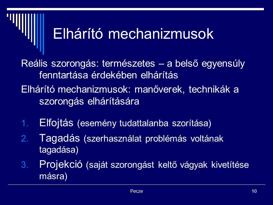 Pecze10 Elhárító mechanizmusok Reális szorongás: természetes – a belső egyensúly fenntartása érdekében elhárítás Elhárító mechanizmusok: manőverek, te