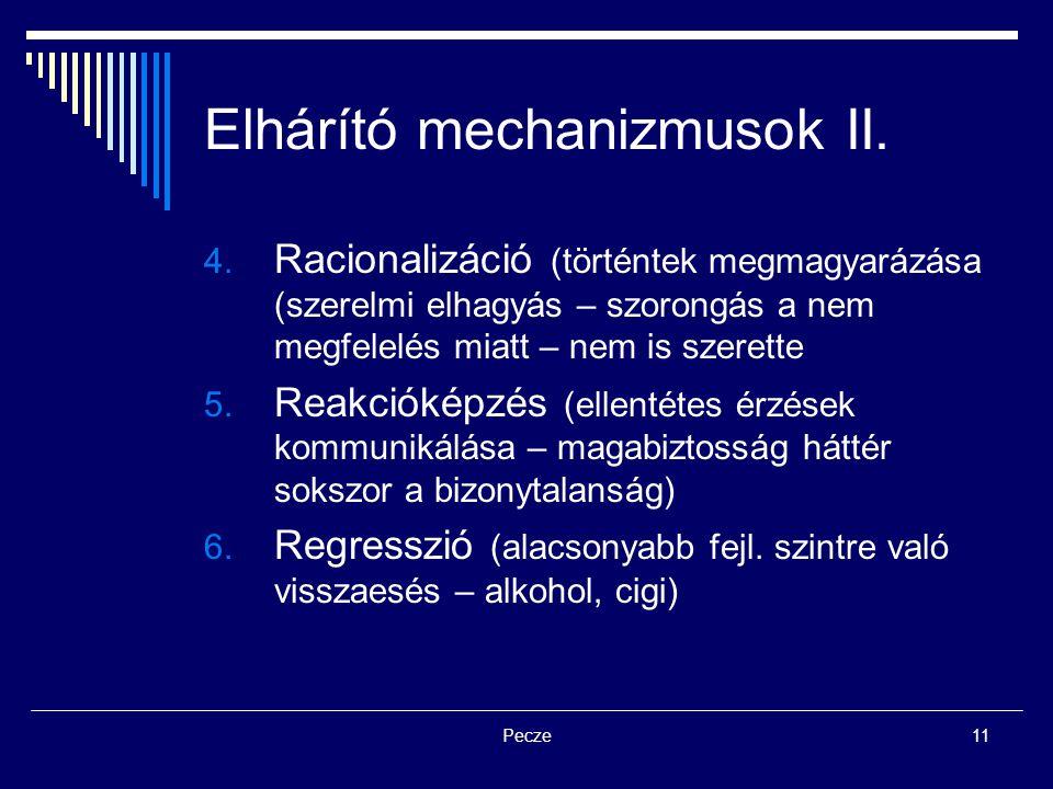 Pecze11 Elhárító mechanizmusok II. 4. Racionalizáció (történtek megmagyarázása (szerelmi elhagyás – szorongás a nem megfelelés miatt – nem is szerette