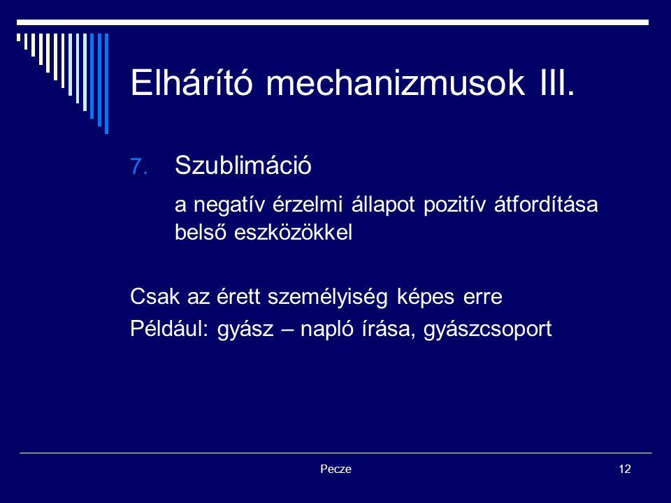 Pecze12 Elhárító mechanizmusok III. 7. Szublimáció a negatív érzelmi állapot pozitív átfordítása belső eszközökkel Csak az érett személyiség képes err