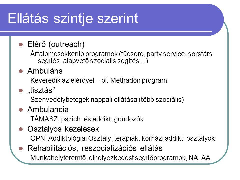 Ellátás szintje szerint Elérő (outreach) Ártalomcsökkentő programok (tűcsere, party service, sorstárs segítés, alapvető szociális segítés…) Ambuláns Keveredik az elérővel – pl.