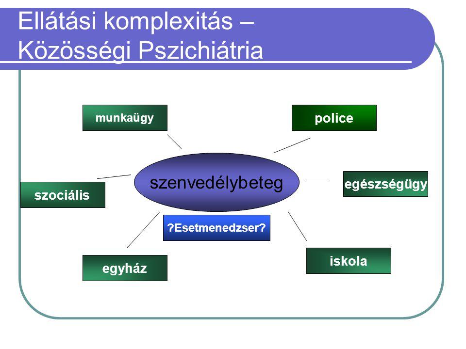 Ellátási komplexitás – Közösségi Pszichiátria szenvedélybeteg munkaügy szociális egyház iskola egészségügy police Esetmenedzser