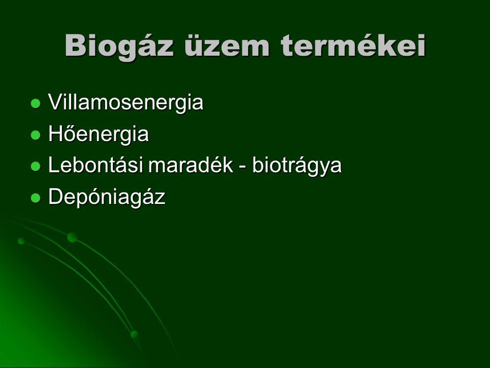Biogáz üzem termékei Villamosenergia Villamosenergia Hőenergia Hőenergia Lebontási maradék - biotrágya Lebontási maradék - biotrágya Depóniagáz Depóniagáz