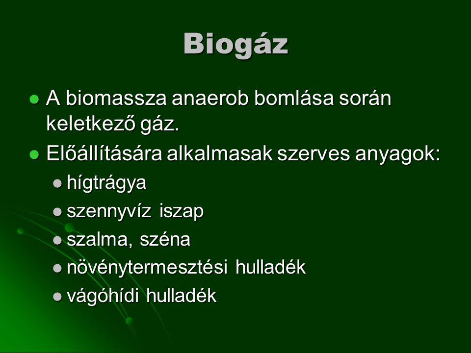 Biogáz A biomassza anaerob bomlása során keletkező gáz.
