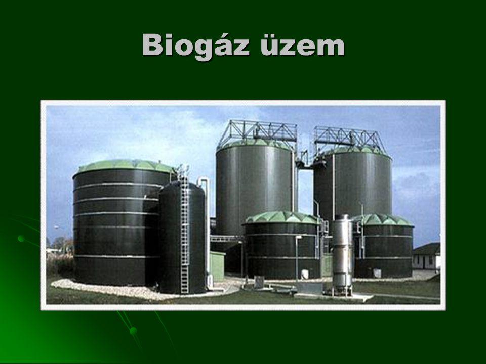 Biogáz üzem helykiválasztása elegendő, folyamatosan rendelkezésre álló biomassza elegendő, folyamatosan rendelkezésre álló biomassza magas energiatartalmú hulladékok magas energiatartalmú hulladékok elegendő mennyiségű víz elegendő mennyiségű víz csatlakozási lehetőség az elektromos hálózatra csatlakozási lehetőség az elektromos hálózatra megfelelő távolság lakott területtől megfelelő távolság lakott területtől