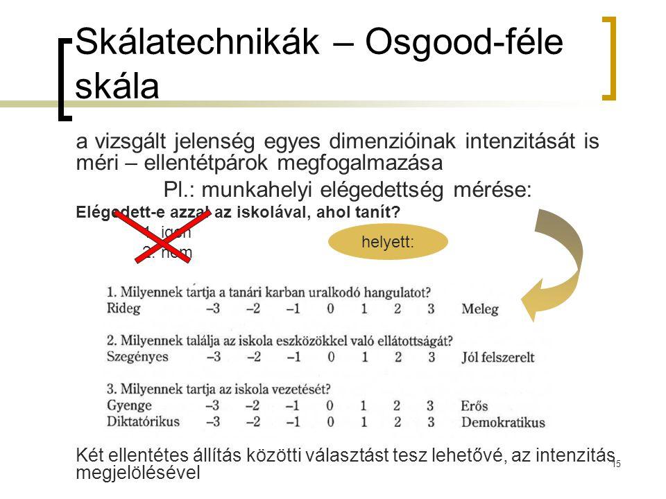 15 Skálatechnikák – Osgood-féle skála a vizsgált jelenség egyes dimenzióinak intenzitását is méri – ellentétpárok megfogalmazása Pl.: munkahelyi elége