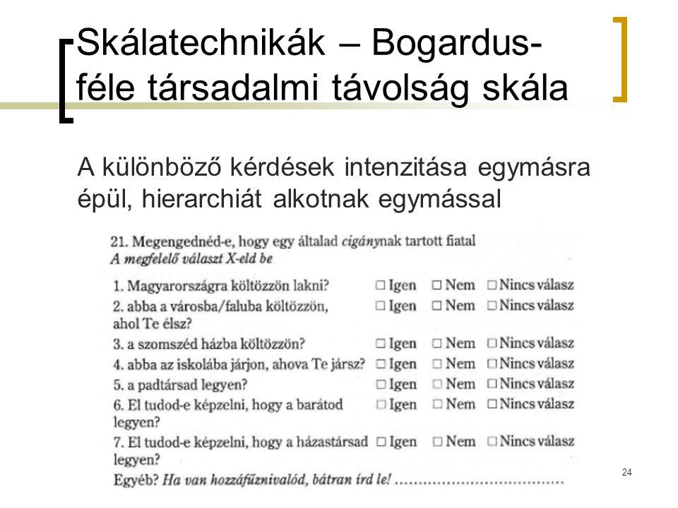 24 Skálatechnikák – Bogardus- féle társadalmi távolság skála A különböző kérdések intenzitása egymásra épül, hierarchiát alkotnak egymással