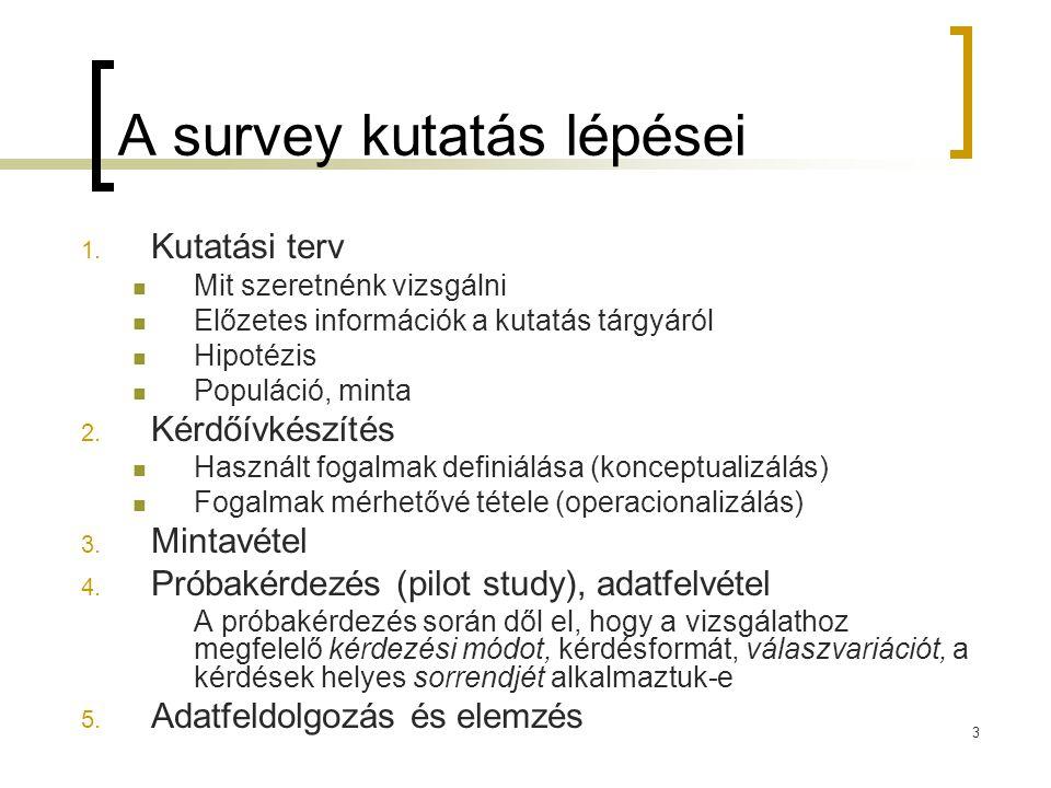 3 A survey kutatás lépései 1. Kutatási terv Mit szeretnénk vizsgálni Előzetes információk a kutatás tárgyáról Hipotézis Populáció, minta 2. Kérdőívkés
