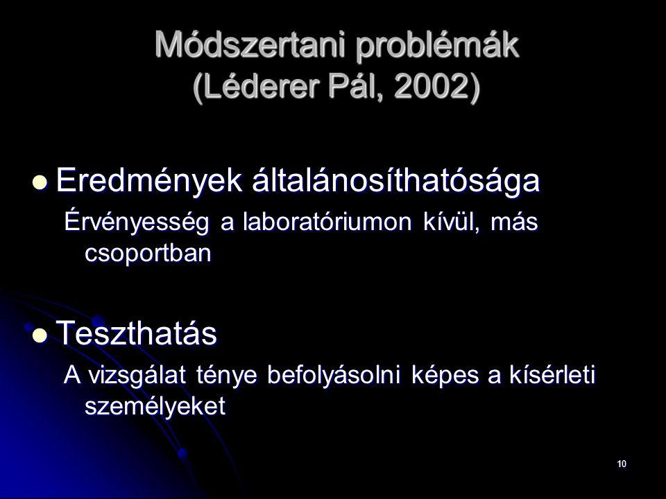 10 Módszertani problémák (Léderer Pál, 2002) Eredmények általánosíthatósága Eredmények általánosíthatósága Érvényesség a laboratóriumon kívül, más cso