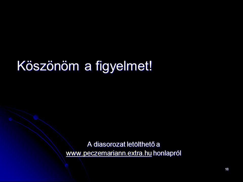 18 Köszönöm a figyelmet! A diasorozat letölthető a www.peczemariann.extra.huwww.peczemariann.extra.hu honlapról www.peczemariann.extra.hu