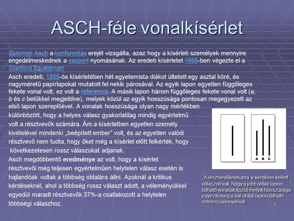 7 ASCH-féle vonalkísérlet Solomon AschSolomon Asch a konformitás erejét vizsgálta, azaz hogy a kísérleti személyek mennyire engedelmeskednek a csoport