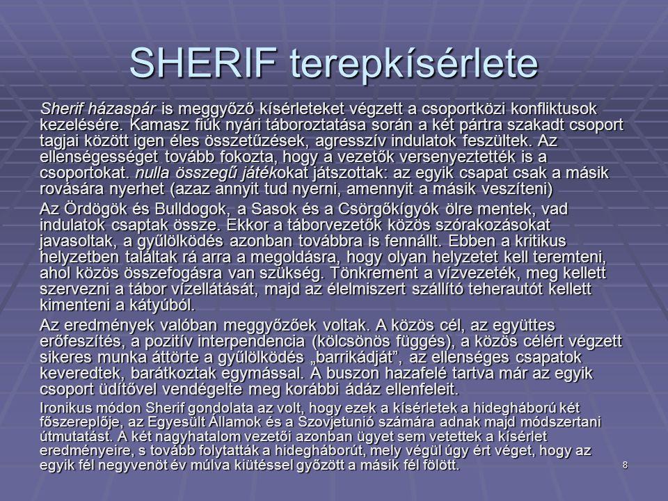 8 SHERIF terepkísérlete Sherif házaspár is meggyőző kísérleteket végzett a csoportközi konfliktusok kezelésére. Kamasz fiúk nyári táboroztatása során