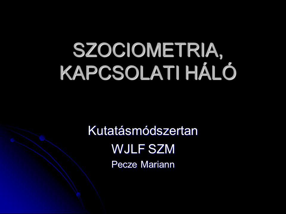 SZOCIOMETRIA, KAPCSOLATI HÁLÓ Kutatásmódszertan WJLF SZM Pecze Mariann