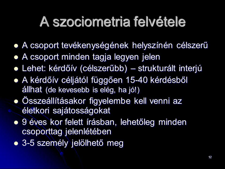 12 A szociometria felvétele A csoport tevékenységének helyszínén célszerű A csoport tevékenységének helyszínén célszerű A csoport minden tagja legyen