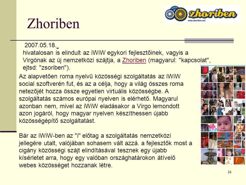 24 Zhoriben Az alapvetően roma nyelvű közösségi szolgáltatás az iWiW social szoftverén fut, és az a célja, hogy a világ összes roma netezőjét hozza ös