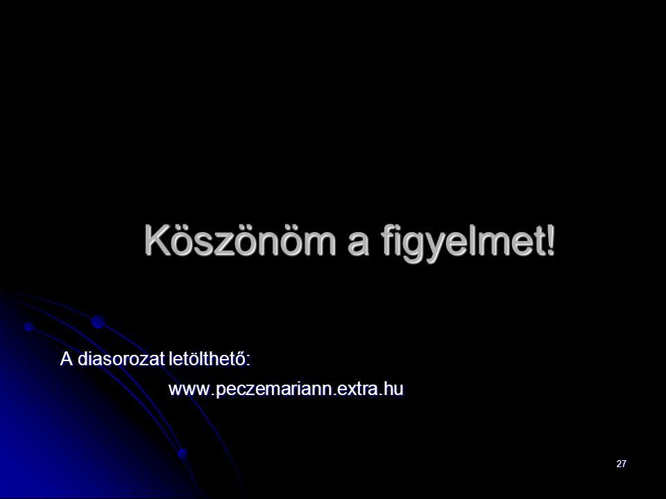 27 Köszönöm a figyelmet! A diasorozat letölthető: www.peczemariann.extra.hu