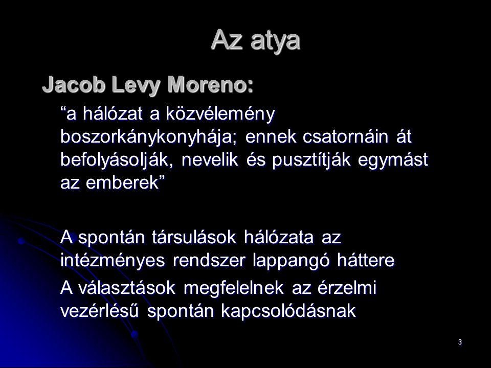 """3 Az atya Jacob Levy Moreno: """"a hálózat a közvélemény boszorkánykonyhája; ennek csatornáin át befolyásolják, nevelik és pusztítják egymást az emberek"""""""