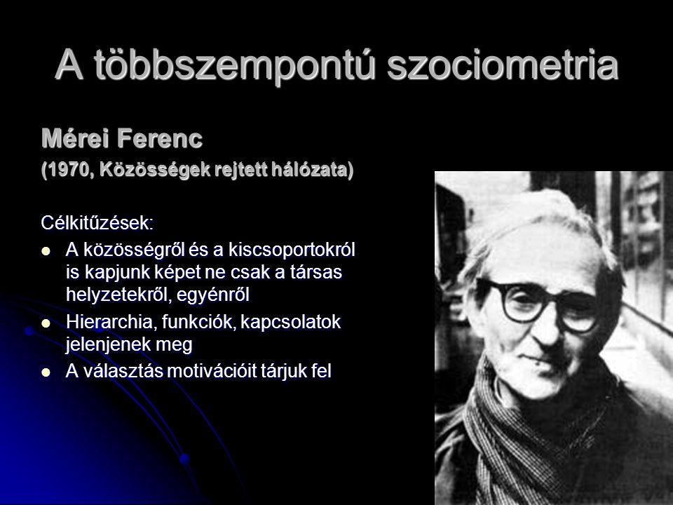 6 A többszempontú szociometria Mérei Ferenc (1970, Közösségek rejtett hálózata) Célkitűzések: A közösségről és a kiscsoportokról is kapjunk képet ne c