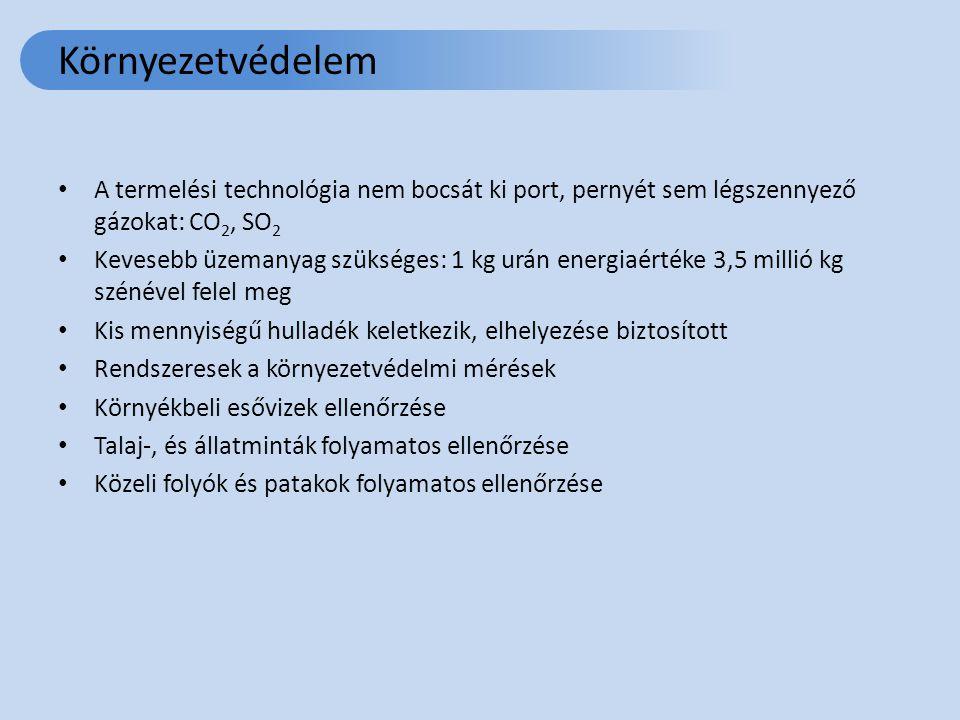 Környezetvédelem A termelési technológia nem bocsát ki port, pernyét sem légszennyező gázokat: CO 2, SO 2 Kevesebb üzemanyag szükséges: 1 kg urán energiaértéke 3,5 millió kg szénével felel meg Kis mennyiségű hulladék keletkezik, elhelyezése biztosított Rendszeresek a környezetvédelmi mérések Környékbeli esővizek ellenőrzése Talaj-, és állatminták folyamatos ellenőrzése Közeli folyók és patakok folyamatos ellenőrzése