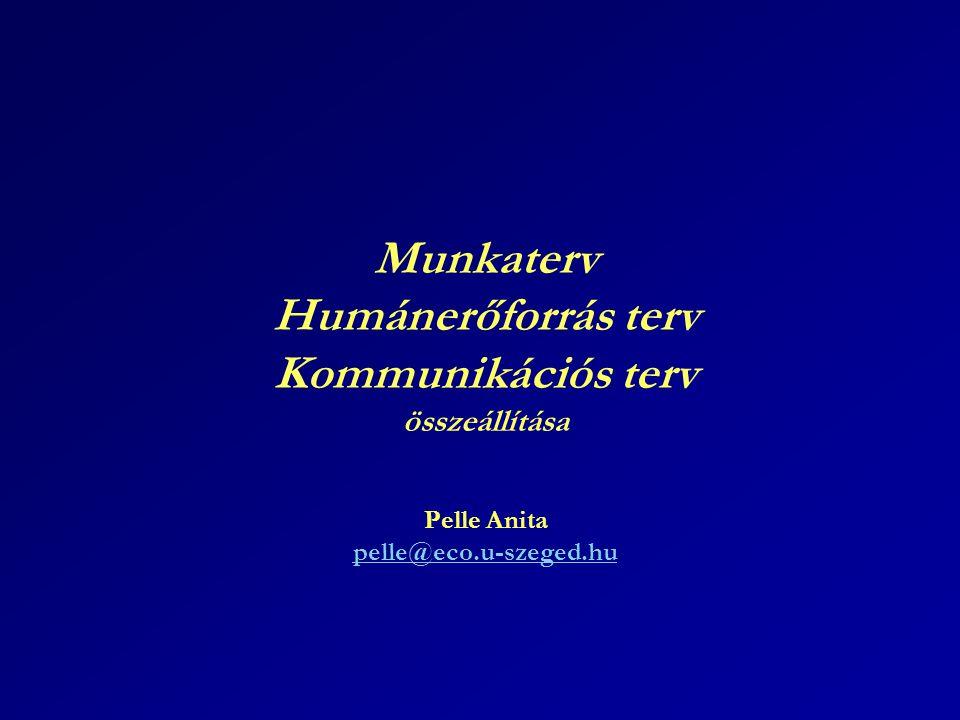 Munkaterv Humánerőforrás terv Kommunikációs terv összeállítása Pelle Anita pelle@eco.u-szeged.hu pelle@eco.u-szeged.hu