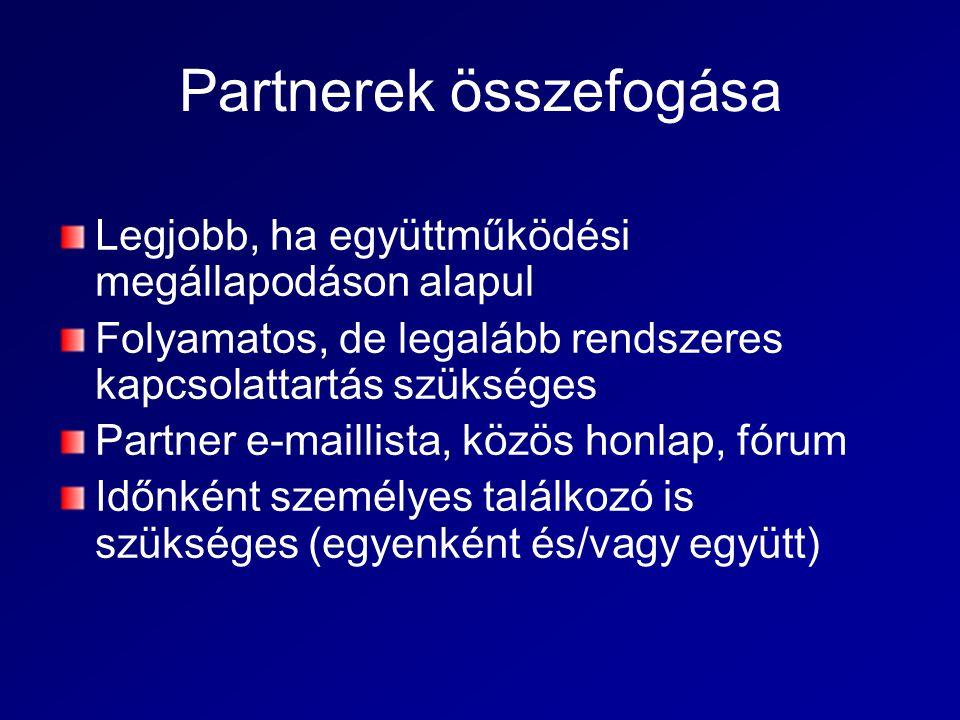 Partnerek összefogása Legjobb, ha együttműködési megállapodáson alapul Folyamatos, de legalább rendszeres kapcsolattartás szükséges Partner e-maillista, közös honlap, fórum Időnként személyes találkozó is szükséges (egyenként és/vagy együtt)