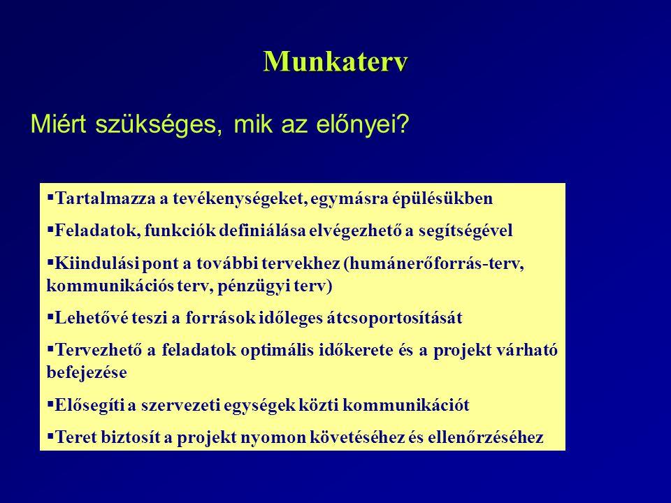 A munkaterv elkészítésének menete: Megvalósítási ütemterv - Munkaterv 5.