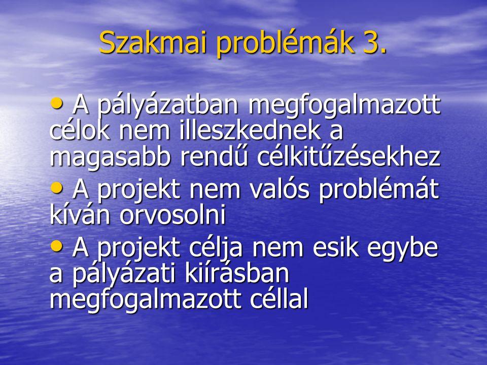 Szakmai problémák 3. A pályázatban megfogalmazott célok nem illeszkednek a magasabb rendű célkitűzésekhez A pályázatban megfogalmazott célok nem illes