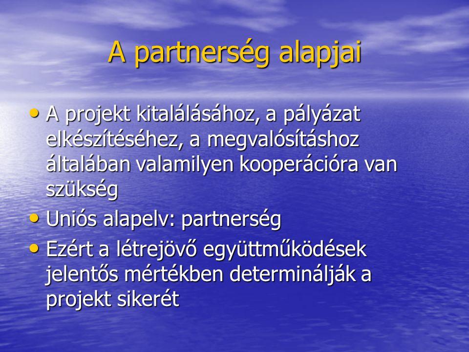A partnerség alapjai A projekt kitalálásához, a pályázat elkészítéséhez, a megvalósításhoz általában valamilyen kooperációra van szükség A projekt kit