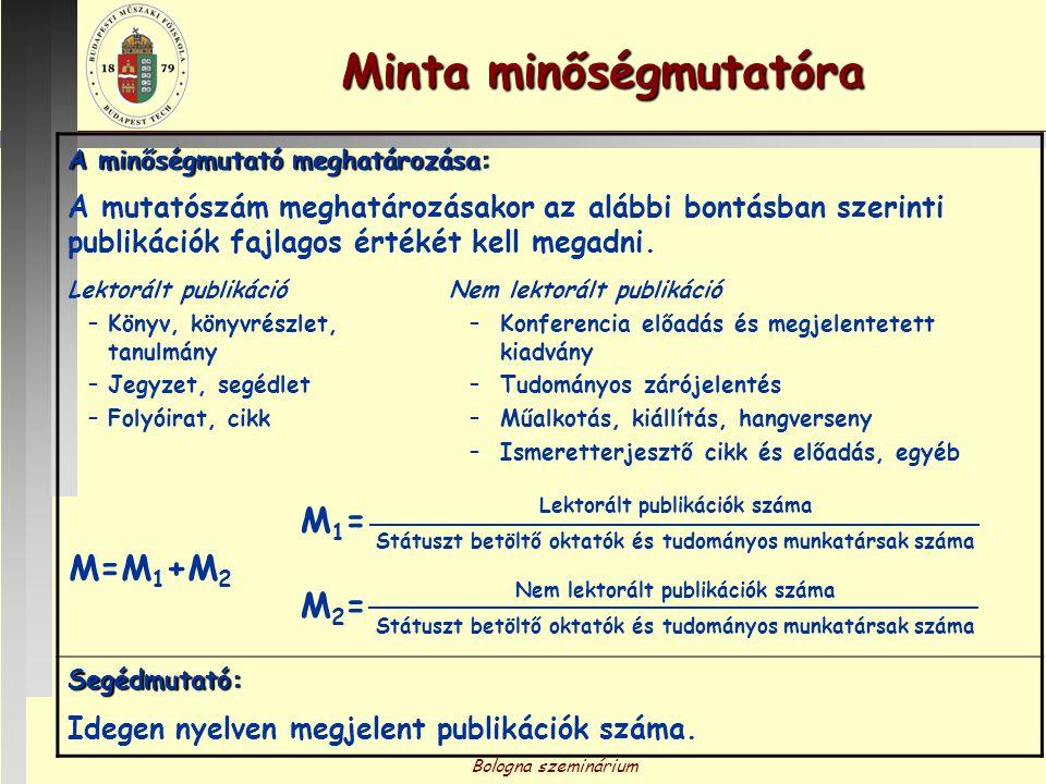 Bologna szeminárium Minta minőségmutatóra Prezentálás és kiértékelése: A mutatószámot oszlopdiagramos formában, a lektorált és nem lektorált publikációkat részarányos megoszlása szerint különböző színnel jelölve idősoron kell ábrázolni.