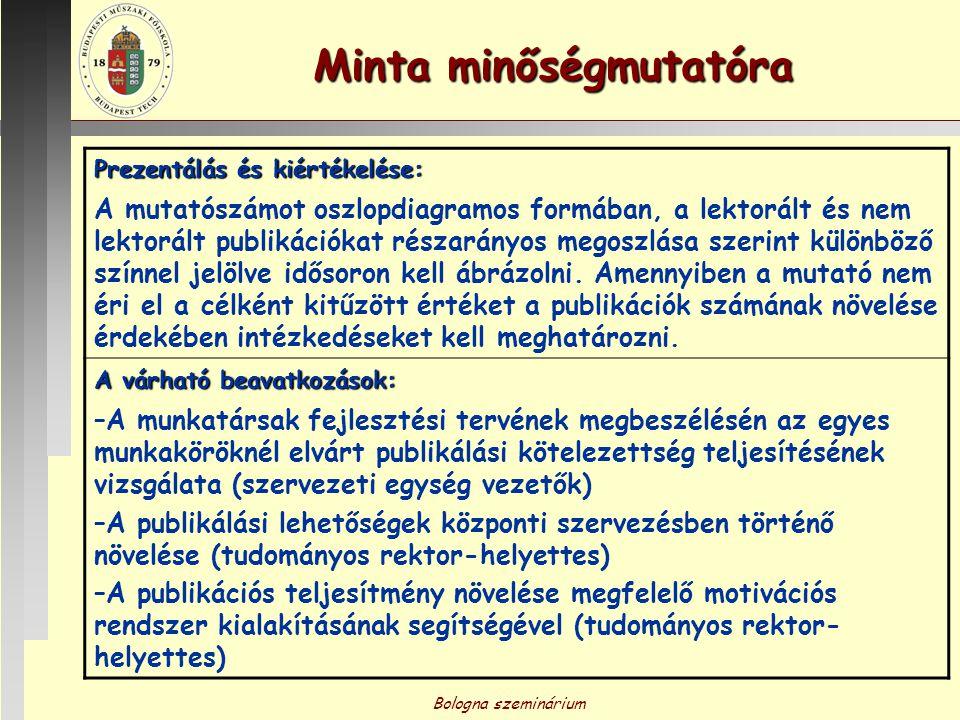 Bologna szeminárium Minta minőségmutatóra Prezentálás és kiértékelése: A mutatószámot oszlopdiagramos formában, a lektorált és nem lektorált publikáci
