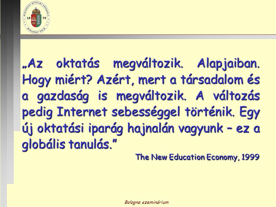 """Bologna szeminárium """"Az oktatás megváltozik. Alapjaiban. Hogy miért? Azért, mert a társadalom és a gazdaság is megváltozik. A változás pedig Internet"""