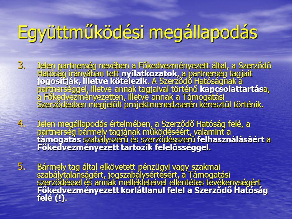 Együttműködési megállapodás 3. Jelen partnerség nevében a Főkedvezményezett által, a Szerződő Hatóság irányában tett nyilatkozatok, a partnerség tagja