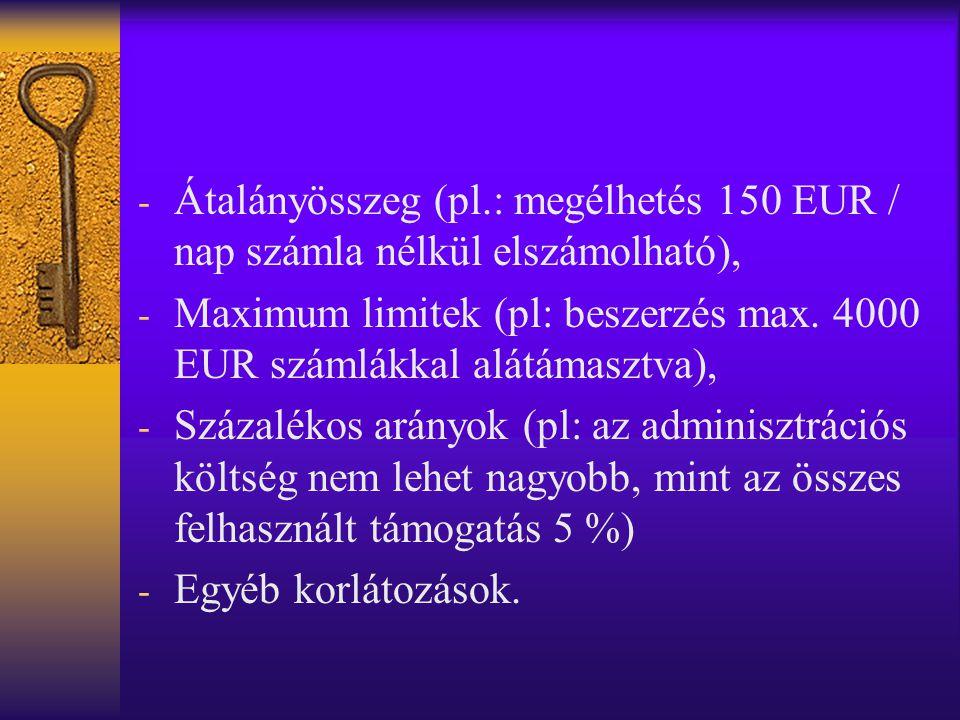 - Átalányösszeg (pl.: megélhetés 150 EUR / nap számla nélkül elszámolható), - Maximum limitek (pl: beszerzés max.