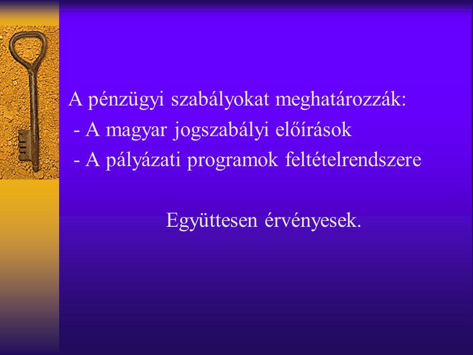 A pénzügyi szabályokat meghatározzák: - A magyar jogszabályi előírások - A pályázati programok feltételrendszere Együttesen érvényesek.