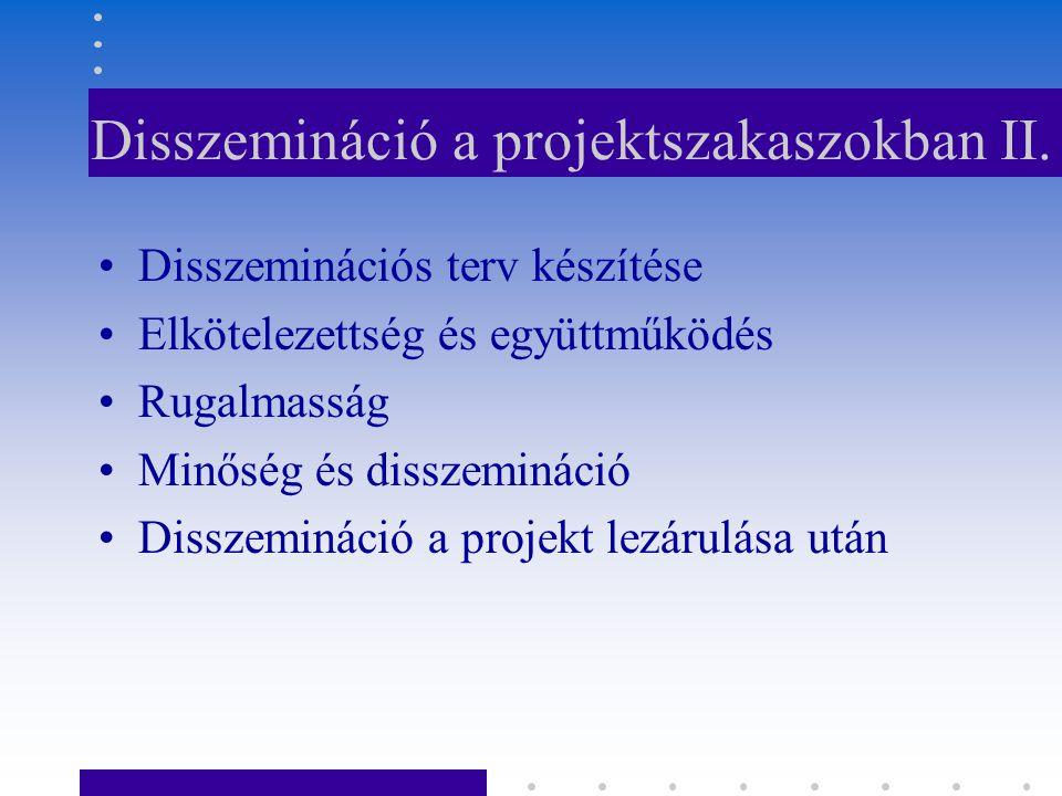 Disszemináció a projektszakaszokban II.