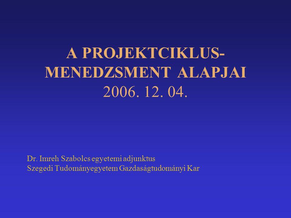 A PROJEKTCIKLUS- MENEDZSMENT ALAPJAI 2006. 12. 04. Dr. Imreh Szabolcs egyetemi adjunktus Szegedi Tudományegyetem Gazdaságtudományi Kar