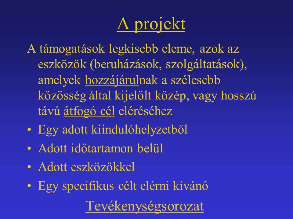A projekt A támogatások legkisebb eleme, azok az eszközök (beruházások, szolgáltatások), amelyek hozzájárulnak a szélesebb közösség által kijelölt köz
