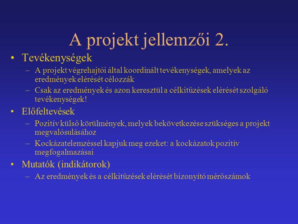 A projekt jellemzői 3.
