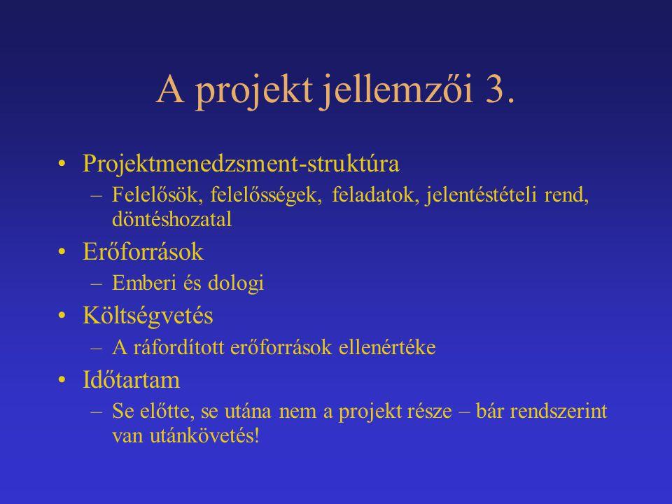 A projekt jellemzői 3. Projektmenedzsment-struktúra –Felelősök, felelősségek, feladatok, jelentéstételi rend, döntéshozatal Erőforrások –Emberi és dol