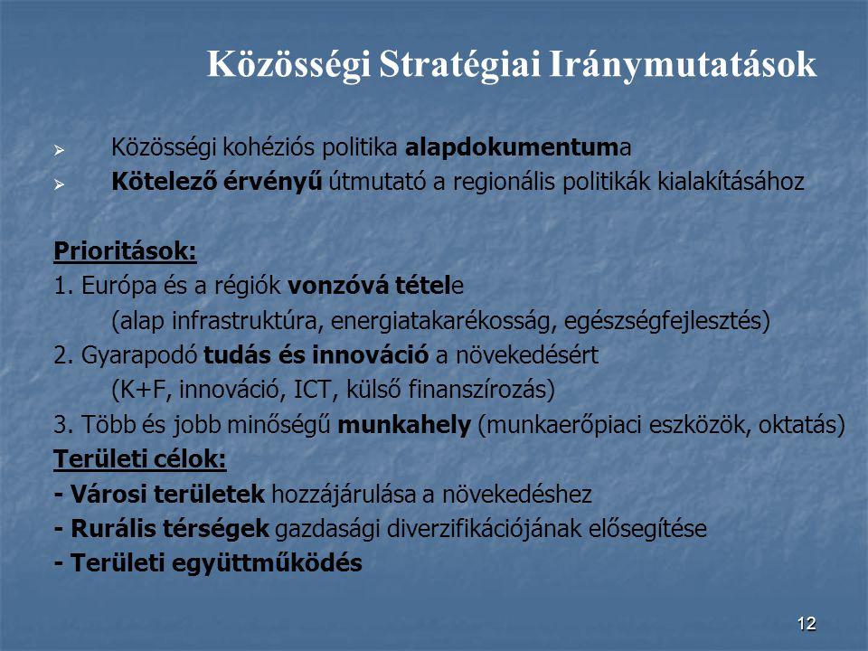 12   Közösségi kohéziós politika alapdokumentuma   Kötelező érvényű útmutató a regionális politikák kialakításához Prioritások: 1. Európa és a rég