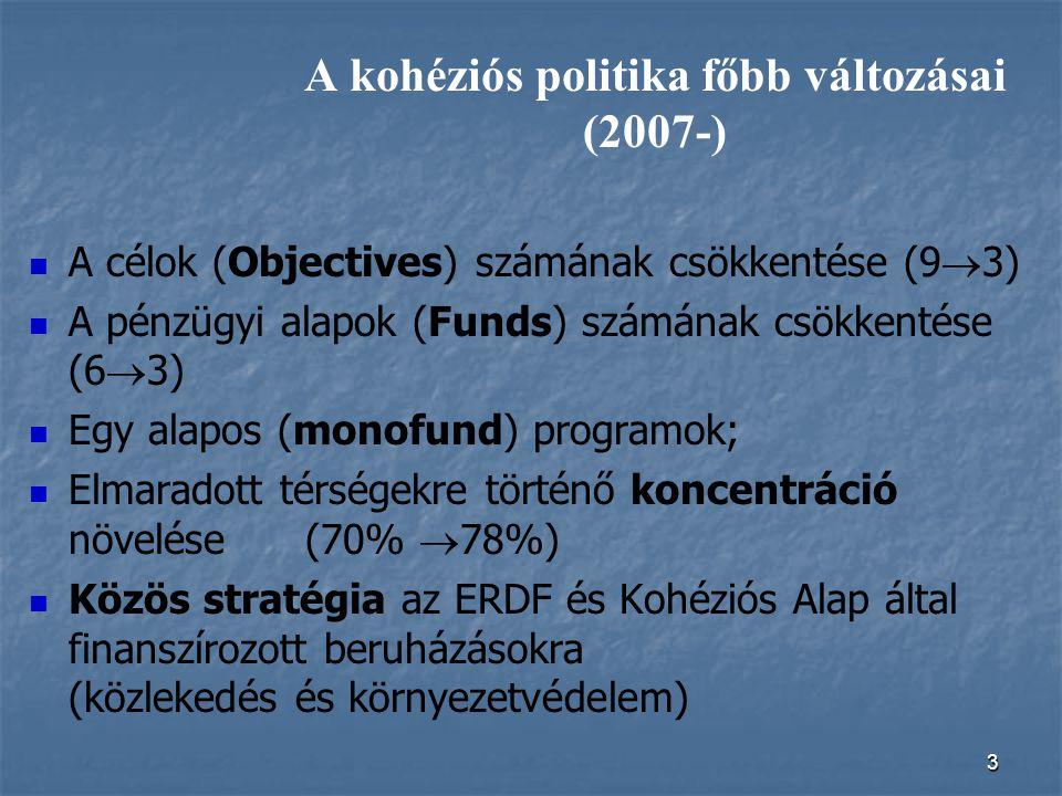 3 A kohéziós politika főbb változásai (2007-) A célok (Objectives) számának csökkentése (9  3) A pénzügyi alapok (Funds) számának csökkentése (6  3)