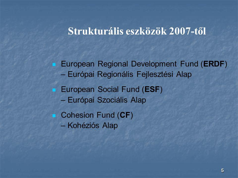 5 Strukturális eszközök 2007-től European Regional Development Fund (ERDF) – Európai Regionális Fejlesztési Alap European Social Fund (ESF) – Európai